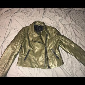 Green leather jacket, rarely worn